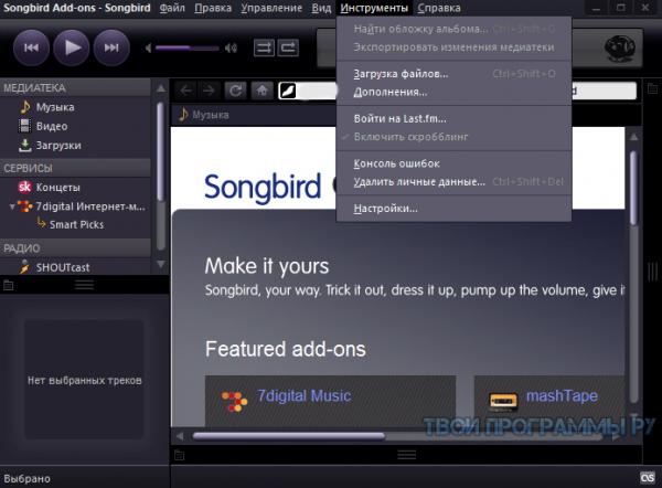 Songbird новая версия