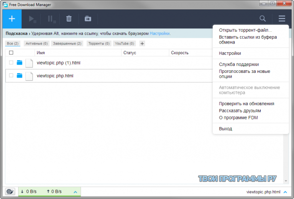 Free Download Manager для windows