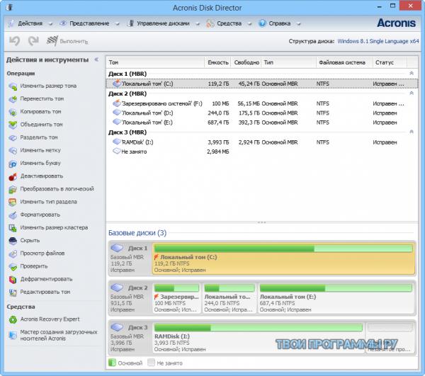 Acronis Disk Director для Windows
