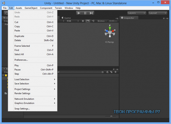 Unity 3D для Windows