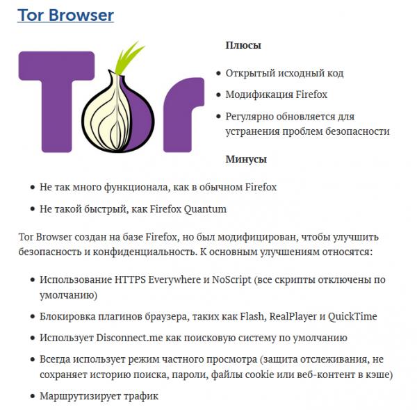 Возможности браузера Tor Browser