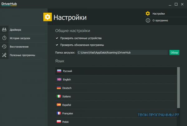 DriverHub на русском языке