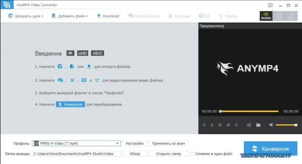 AnyMP4 Video Converter русская версия